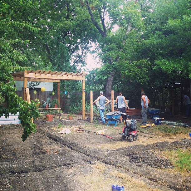Irrigation, fencing, pergola, then plants. What a day! #nativeedgelandscape #atx #landscape #irrigation #garden #pergola