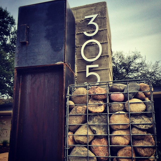 Our super cool custom mailbox one step from completion! #mailbox #custom #metal #concrete #gabion #modern #contemporary #landscapedesign #landscapeArchitecture #atx #nativeedgelandscape #nativeedge #305