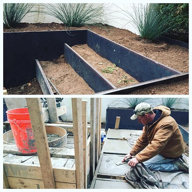 Amazingly intricate design implementation here! The crew is hard at work creating a modern courtyard with poured concrete fire pit, and raised metal planting beds! Stay tuned for afters soon! #modern #design #landscapedesign #landscapearchitecture #courtyard #nativeedge #atx #atxstyle #nativeedgelandscape