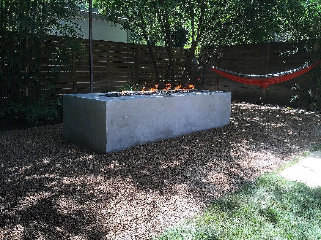 New modern fire pit! Super sleek, stucco block construction with natural gas fire!